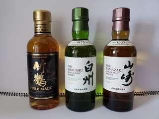 日本威士忌 竹鶴、白州、山崎(一套三支180ml)