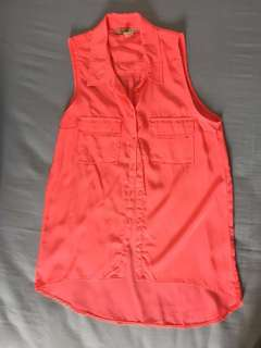 Bershka Sleeveless Neon Pink Shirt