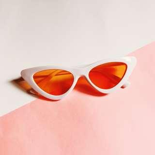 White Orange Retro Cat Eye Sunglasses Cateye Sunnies Shades