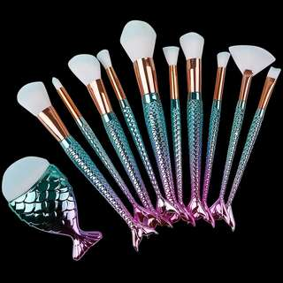 Mermaid Brush Set of 10 + 1 mini fish blush brush