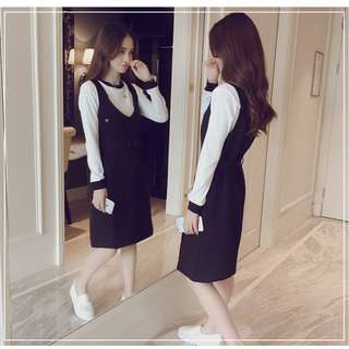 Two Piece Overalls Long Dress