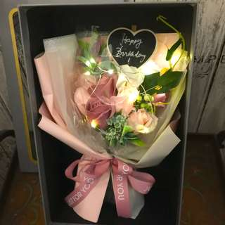 Roses Bouquet - Long lasting scented roses Bouquet in gift box ( chalkboard and led lighting included)