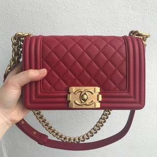 Authentic Chanel Boy Small Calf Skin GHW