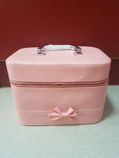 Pink Makeup Bag/ Cosmetic pouch with mirror