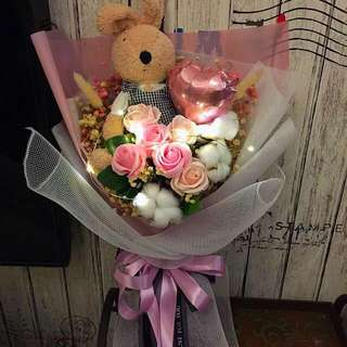 Large Flower Bouquet - Dried Flowers with scented roses