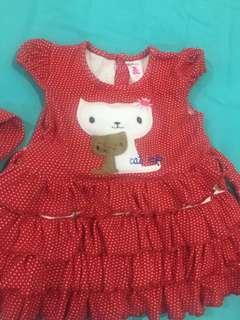 dress anak 6 bulan merah kucing