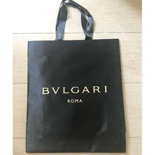 Bvlgari Bulgari medium size black paper shopping bag 名牌購物紙袋