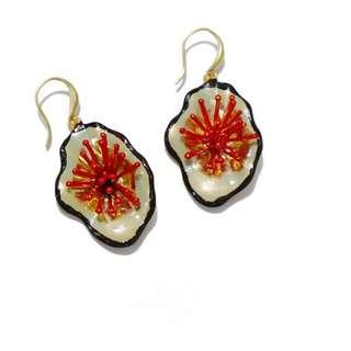 夏天古典巴洛克立體紅色花朵不規則耳環