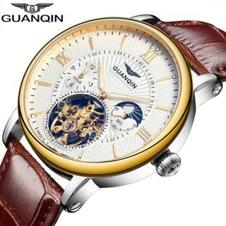 GUANQIN Mens Watch Top Brand Luxury Tourbillon Automatic Mechanical Watch Men gold Skeleton Wristwatch 16036 A