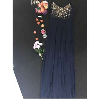 TFNC Navy Maxi Dress with Sequin Details