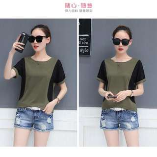 2018 Summer Simple Bump Color Loose Short Sleeve T shirt