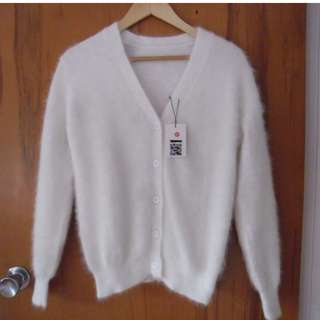 Super Soft Angora Rabbit Fur Like Knit Cardigan (Fits 6-10)