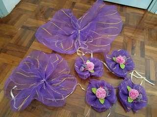 90% new 結婚花車蝴蝶結裝飾一套