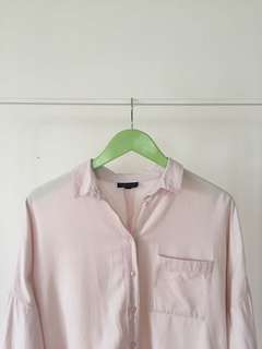 Topshop Pink Oversized Button Down