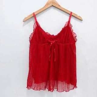 Tanktop Sexy Merah Polyester Plisket Fresh Red