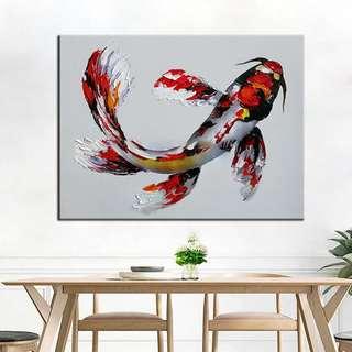 🚚 年年有魚 Koi Fish Oil Painting 70cm x 90cm