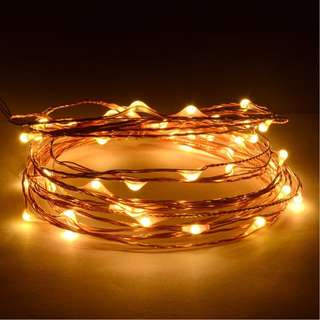 488. 12V DC 5m/16Ft 50 Warm White Micro Drop LED Copper Wire String Fairy Light For Festival Lighting Christmas Wedding Halloween + Power Adapter