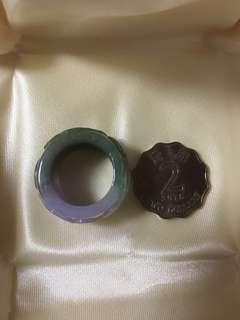 天然A貨玉器春帶彩/紫青翡翠特色如意戒指