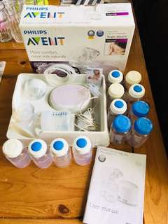 Philips Avent Electric Breastpump with bottles