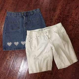 Denim skirt and White walking shorts