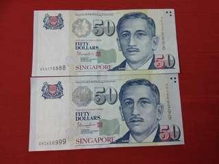 775888 & 656999 Singapore banknotes