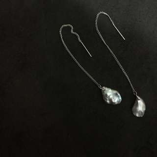 垂墜灰珍珠925銀耳鏈 耳環 (手作