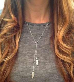 2 Leaf Pendant necklace , free postage