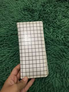 Black and white grid wallet