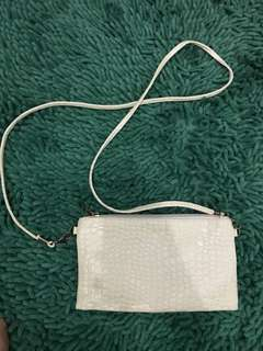 Mini white croco sling bag