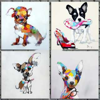 Dogs Oil Painting 50cm x 50cm