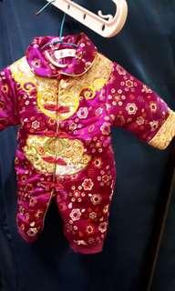 中國風拜年童裝-開檔(玫紅色)