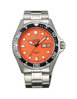only hk$900, 100% new ORIENT Ray Raven II Automatic Orange Dial Men's Watch手錶