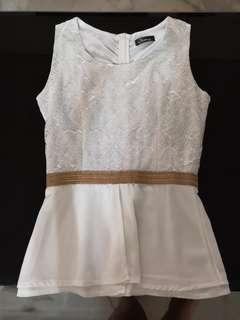 White lace top with chiffon peplum design