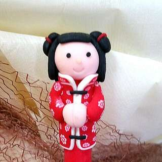 Cute Asian Girl Pen (Red)