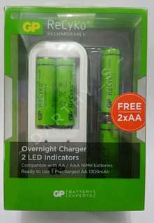 [SALE] GP Battery - ReCyko+ 4× AA 1300mAh Rechargeable Batteries with Overnight Charger set