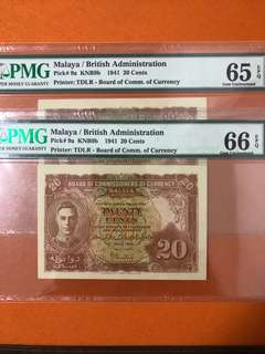 1941 Malaya 20 cents pair