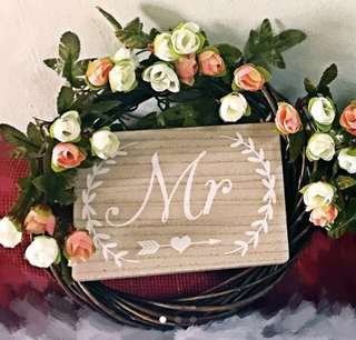 Wedding MR and MRS chair decor signage