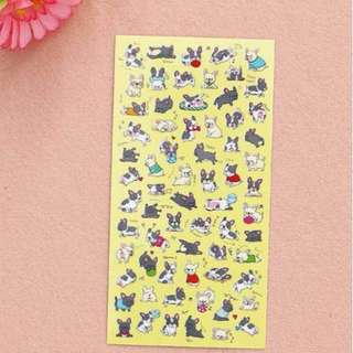 🐕BN INSTOCK Adorable Black & White Pugs Stickers