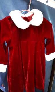 女童 聖誕節服裝 *絨毛紅洋裝*