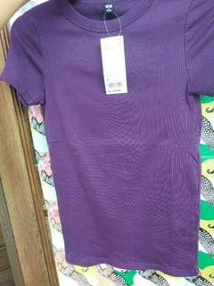 Uniqlo Woman Tshirt Rib Supima Cotton - Ungu