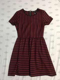 Forever 21 Red and Black Stripes Dress US SMALL