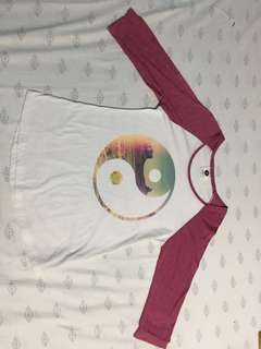 3/4 Sleeve T-Shirt with YinYang print
