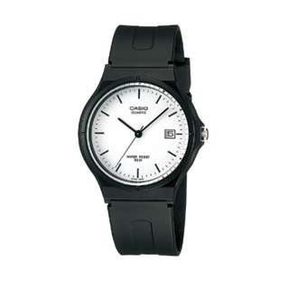 Casio 中性 樹脂錶帶 日子 MW-59-7E 黑色白面 手錶