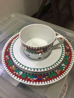 Plate cup and saucer set of 6 christmas design