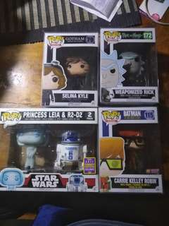 Holographic leia rick and morty and dc pops