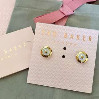 (NEW)Ted Baker Gold Button Stud earrings