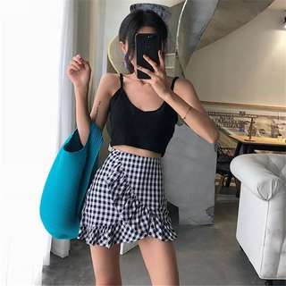 Ruffles Checkered Skirt