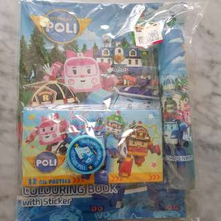 Robocar Poli stationery and colouring set BRAND NEW!