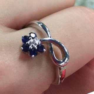"""14k金藍寶 鑽石戒指""""好重金 31份藍寶 原價$4800 平售$1660 不議"""