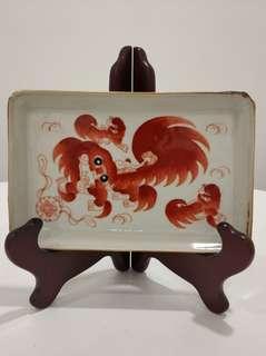 瓷器 太獅茶盤 不連木架